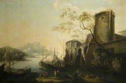 Italianate River Landscape with Boats and Ruins