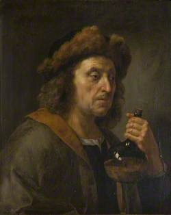 Portrait of a Man in a Fur Cap with a Bottle