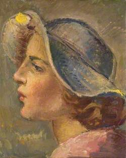 Head and Shoulders Portrait in Profile of of a Young Woman in a Broad-Brimmed Hat*