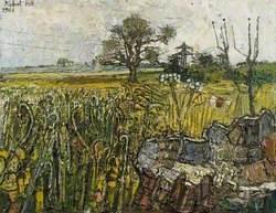 Landscape with Tree Stump, Tree and Distant Pylon