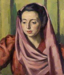 Portrait of a Woman with a Purple Shawl and a Red Dress*