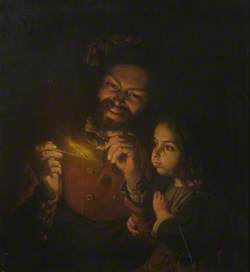 Pipe Smoker and a Little Girl
