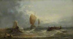 Stormy Seascape with Sailing Boats and a Rowing Boat Close to a Beach*
