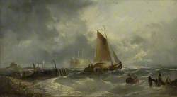 Stormy Seascape with a Sailing Boat Close to a Jetty*