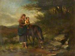 Woman Supporting a Boy on a Donkey by a Stream*