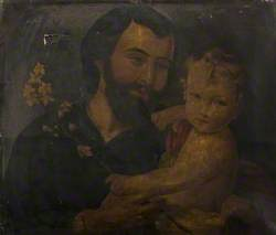 Jesus Holding a Small Child with a Flowering Branch in Her Hand