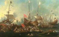 A Sea Battle between Christians and Barbary Corsairs