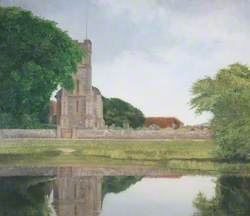 The Village Church and Pond, Falmer, Sussex