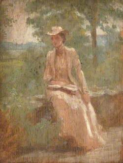 Woman in White, Seated on a Terrace