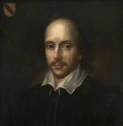 William Shakespeare (1564–1616), with the Arms of John Shakespeare