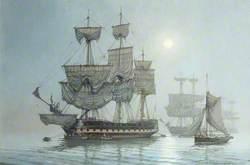 HMS 'Bristol' at Moonlight