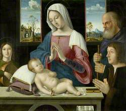Withypool Triptych, Virgin and Child with Saint Joseph and Donor