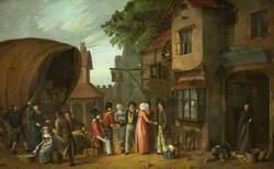 Scene outside an Inn (perhaps at Congresbury), Somerset