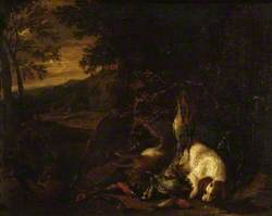 Spaniel and Dead Game in a Landscape