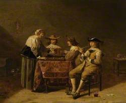 Gentlemen Playing Backgammon