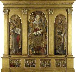 Virgin and Child Enthroned: St Bonaventura (left); St Louis of Toulouse (right) St Agatha and St Augustine, an Unidentified Female Franciscan St and St Clare of Assisi, Four Male Franciscan Saints (below)