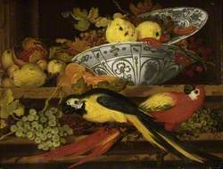 Still Life with Fruit and Macaws