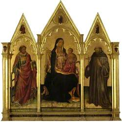 The Virgin and Child Enthroned, between Saint Lawrence (left) and Saint John Gualbert (right)