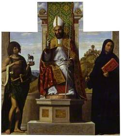 Saint Lanfranc Enthroned between Saint John the Baptist and Saint Liberius