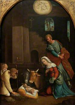 The Adoration of the Shepherd, with the Annunciation to the Shepherds beyond