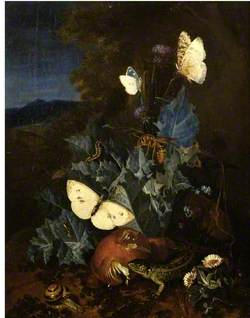Still Life with a Thistle, Boletus, Snail, Lizard, Butterflies and a Bee in a Landscape