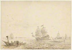 Men-of-War and Other Ships, Fishermen on the Shore to the Left