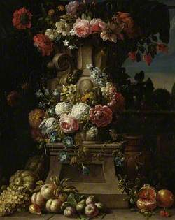 A Vase of Flowers with Fruit in a Landscape