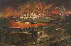'Empress of Russia' Ablaze in Buccleuch Dock, Barrow, in the Early Hours of Saturday 8 September 1945