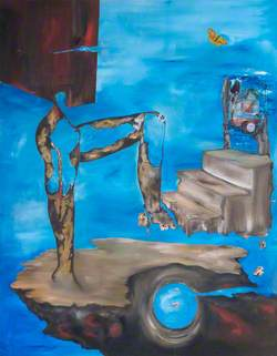 Blue Abstract, Figure on Steps