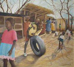Boys with a Tyre