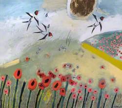 Poppy Field with Swallows