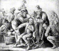 An Itinerant Surgeon Extracting Stones from a Man's Head; Symbolising the Expulsion of 'Folly' (Insanity), They Are Surrounded by a Group of People