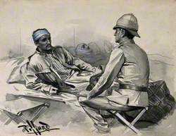 Boer War: A Wounded Man Addresses a Superior Officer Seated at His Bedside