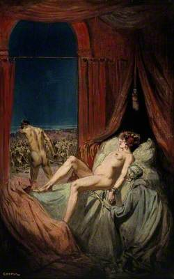 A Provocative Naked Young Woman Lying on a Bed; Death, a Cloaked Skeleton, Sits at Her Side, and a Naked Man Walks away from the Bed with His Head Bowed, towards a Throng of Diseased and Dying People; Representing Syphilis