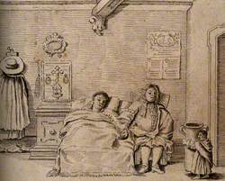 A Dwarf Carrying a Large Jug into a Room Where a Person Is Ill in Bed