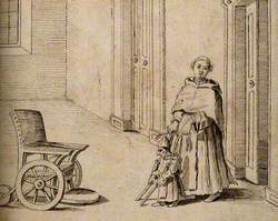 A Crippled Dwarf Being Helped to a Wheelchair by a Monk