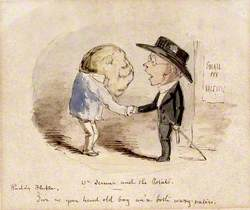 A Potato Shaking Hands with Edward Jenner, Claiming Him as a Fellow Vaccinator