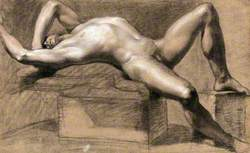 A Reclining Male Nude with His Left Arm Shielding His Eyes