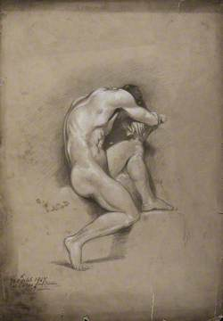 A Seated Male Nude with His Head Bent forward onto His Folded Arms