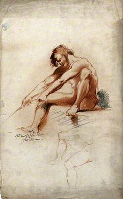 A Seated Male Nude Grasping a Rope with a Second Sketch of Legs