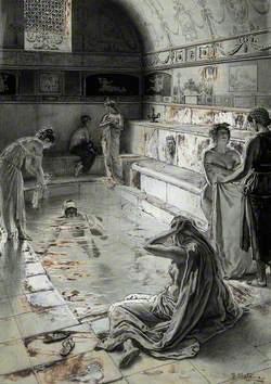 Ancient Roman Women Bathing in a Public Bath in London