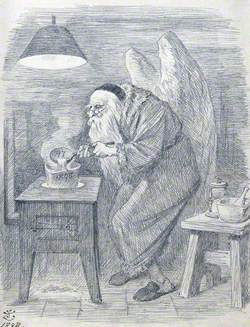 An Alchemist with Angel's Wings and a Skull Cap, Pouring Fluid from a Ladle into a Crucible
