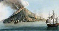 The Island of Stromboli, Smoke Erupting from Its Peak
