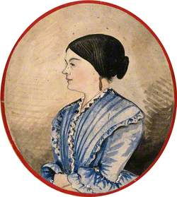 Mrs Stephen Jenner in Profile; Head and Shoulders, Wearing a Blue Dress