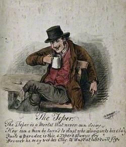 A Drunkard Wearing a Hat, Seated, Drinking
