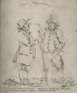 Two Gloucestershire Countrymen, One Holding a Scythe, Conversing about Foreign Affairs
