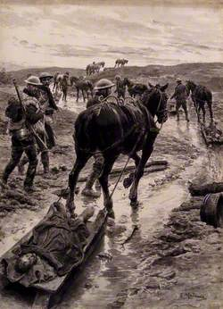 First World War: A Horse Is Removing a Wounded Man on a Sledge