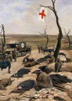 First World War: An Advanced Dressing-Station by the Roadside