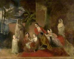 Major William Palmer with His Second Wife, the Mughal Princess Bibi Faiz Bakhsh