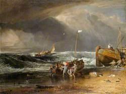 A Coast Scene with Fishermen Hauling a Boat Ashore
